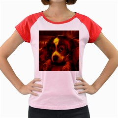 Cute 3d Dog Women s Cap Sleeve T Shirt