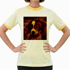 Cute 3d Dog Women s Fitted Ringer T Shirts