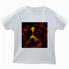 Cute 3d Dog Kids White T Shirts