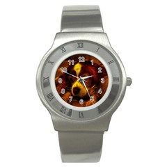 Cute 3d Dog Stainless Steel Watch