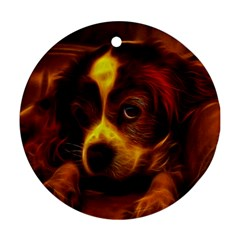 Cute 3d Dog Round Ornament (two Sides)