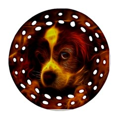 Cute 3d Dog Round Filigree Ornament (two Sides)