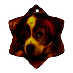 Cute 3d Dog Snowflake Ornament (two Sides)