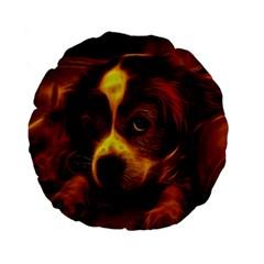 Cute 3d Dog Standard 15  Premium Flano Round Cushions
