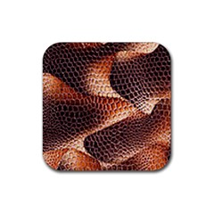 Snake Python Skin Pattern Rubber Square Coaster (4 Pack)
