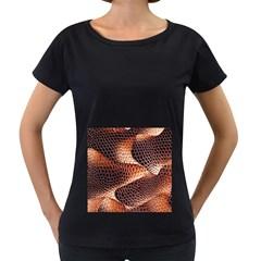 Snake Python Skin Pattern Women s Loose Fit T Shirt (black)