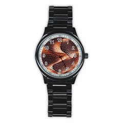 Snake Python Skin Pattern Stainless Steel Round Watch