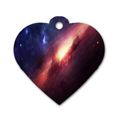 Digital Space Universe Dog Tag Heart (two Sides)