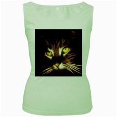 Cat Face Women s Green Tank Top