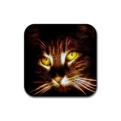 Cat Face Rubber Square Coaster (4 Pack)