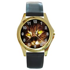 Cat Face Round Gold Metal Watch