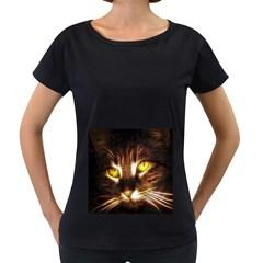 Cat Face Women s Loose Fit T Shirt (black)