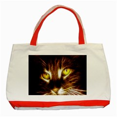 Cat Face Classic Tote Bag (red)
