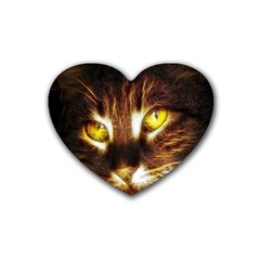 Cat Face Rubber Coaster (heart)