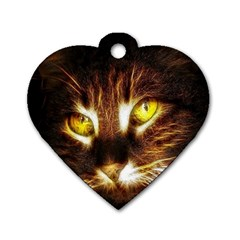 Cat Face Dog Tag Heart (two Sides)