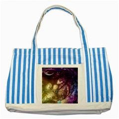 Cartoons Video Games Multicolor Striped Blue Tote Bag