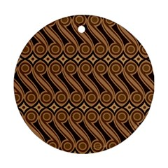 Batik The Traditional Fabric Round Ornament (two Sides)