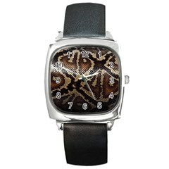 Snake Skin Olay Square Metal Watch