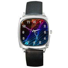 Cracked Out Broken Glass Square Metal Watch
