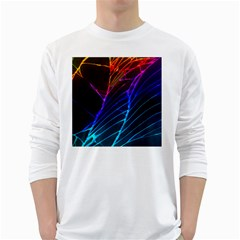 Cracked Out Broken Glass White Long Sleeve T Shirts