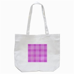 Seamless Tartan Pattern Tote Bag (white)