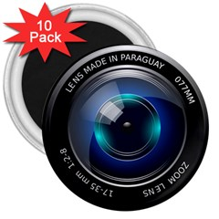 Camera Lens Prime Photography 3  Magnets (10 Pack)