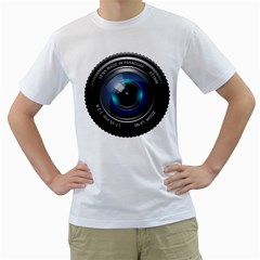 Camera Lens Prime Photography Men s T Shirt (white) (two Sided)