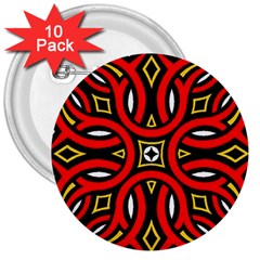 Traditional Art Pattern 3  Buttons (10 Pack)