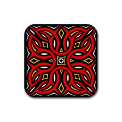 Traditional Art Pattern Rubber Square Coaster (4 Pack)
