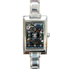 Book Quote Collage Rectangle Italian Charm Watch