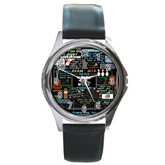 Book Quote Collage Round Metal Watch