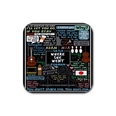 Book Quote Collage Rubber Square Coaster (4 Pack)