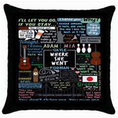 Book Quote Collage Throw Pillow Case (black)
