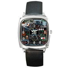 Book Quote Collage Square Metal Watch