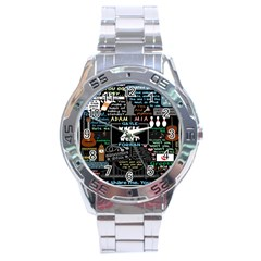 Book Quote Collage Stainless Steel Analogue Watch