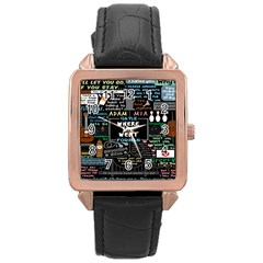 Book Quote Collage Rose Gold Leather Watch