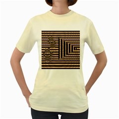 Wooden Pause Play Paws Abstract Oparton Line Roulette Spin Women s Yellow T Shirt