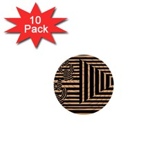 Wooden Pause Play Paws Abstract Oparton Line Roulette Spin 1  Mini Buttons (10 Pack)