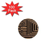 Wooden Pause Play Paws Abstract Oparton Line Roulette Spin 1  Mini Magnets (100 Pack)