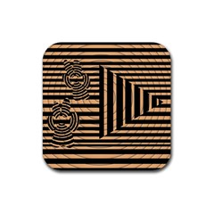 Wooden Pause Play Paws Abstract Oparton Line Roulette Spin Rubber Square Coaster (4 Pack)