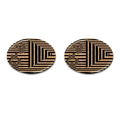 Wooden Pause Play Paws Abstract Oparton Line Roulette Spin Cufflinks (oval)