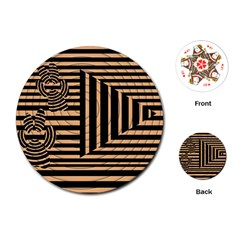 Wooden Pause Play Paws Abstract Oparton Line Roulette Spin Playing Cards (round)