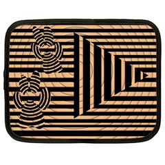 Wooden Pause Play Paws Abstract Oparton Line Roulette Spin Netbook Case (xl)