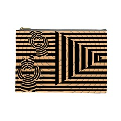 Wooden Pause Play Paws Abstract Oparton Line Roulette Spin Cosmetic Bag (large)
