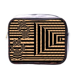Wooden Pause Play Paws Abstract Oparton Line Roulette Spin Mini Toiletries Bags