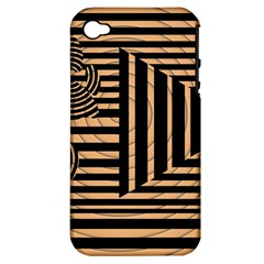Wooden Pause Play Paws Abstract Oparton Line Roulette Spin Apple Iphone 4/4s Hardshell Case (pc+silicone)