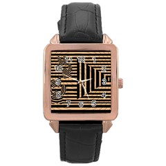 Wooden Pause Play Paws Abstract Oparton Line Roulette Spin Rose Gold Leather Watch