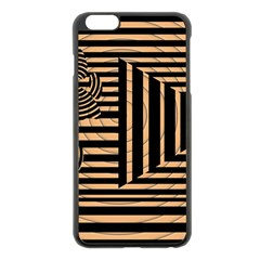 Wooden Pause Play Paws Abstract Oparton Line Roulette Spin Apple Iphone 6 Plus/6s Plus Black Enamel Case