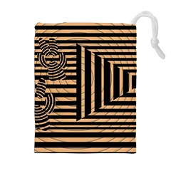 Wooden Pause Play Paws Abstract Oparton Line Roulette Spin Drawstring Pouches (extra Large)