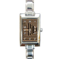 Wooden Pause Play Paws Abstract Oparton Line Roulette Spin Rectangle Italian Charm Watch